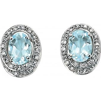 Elements Gold Kaleidoscope 9ct White Gold Aquamarine and Diamond Oval Stud Earrings - Light Blue/White Gold