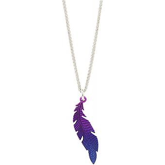 Ti2 Titanium Woodland Small Curved Feather Pendant - Purple