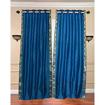 Turquoise Ring Top  Sheer Sari Curtain / Drape / Panel  - Piece