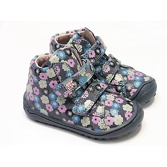 Garvalin Blue Leather Ankle Boots With Coloured Flower Detail & Flexible Sole