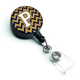 Letter P Chevron Navy Blue and Gold Retractable Badge Reel