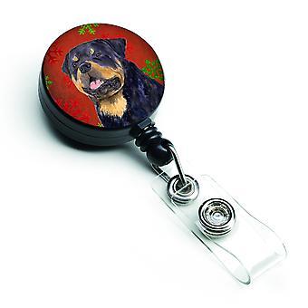 Rottweiler rosso e verde dei fiocchi di neve vacanze Natale retrattile Badge Reel