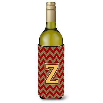 Letter Z Chevron Garnet and Gold  Wine Bottle Beverage Insulator Hugger