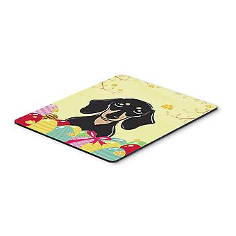 Smooth Black and Tan Dachshund Easter Egg Hunt Mouse Pad, Hot Pad or Trivet