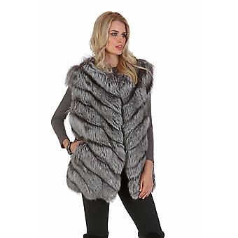 Womens Silver Fox Fur Vest - Chevron Design