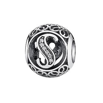 Sterling silver charm with zirconia stones letter S PSC008-S