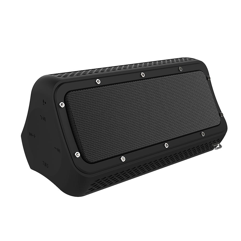 Tritina Portable Bluetooth Speaker with Mic, Water Resistant Shower, Built-in Smartphone Charger, 20W Dual Driver Enhanced Bass,Phone Call Hands-free - Black