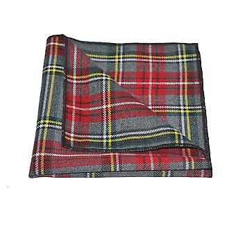 Traditionele lichtgrijs / & Red Tartan zak plein, zakdoek, Check, Plaid