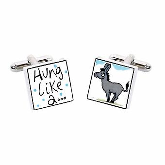 Hung Like A Donkey Cufflinks by Sonia Spencer, in Presentation Gift Box. Hand painted