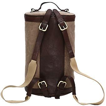 Canvas & Leather Trim Backpack Barrel Rucksack Shoulder Bag Weekend Case