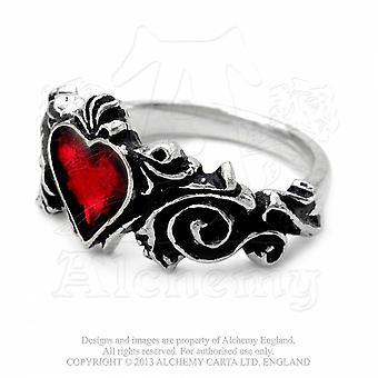 Alchimie la main gothique fiançailles rococo coeur forme bague étain
