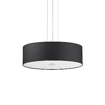 Ideal Lux Woody 4 Bulb Ceiling Drum Shade Pendant Light, Black Fabric