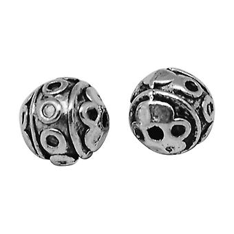 Packet 20 x Antique Silver Tibetan 8mm Round Spacer Beads HA17435