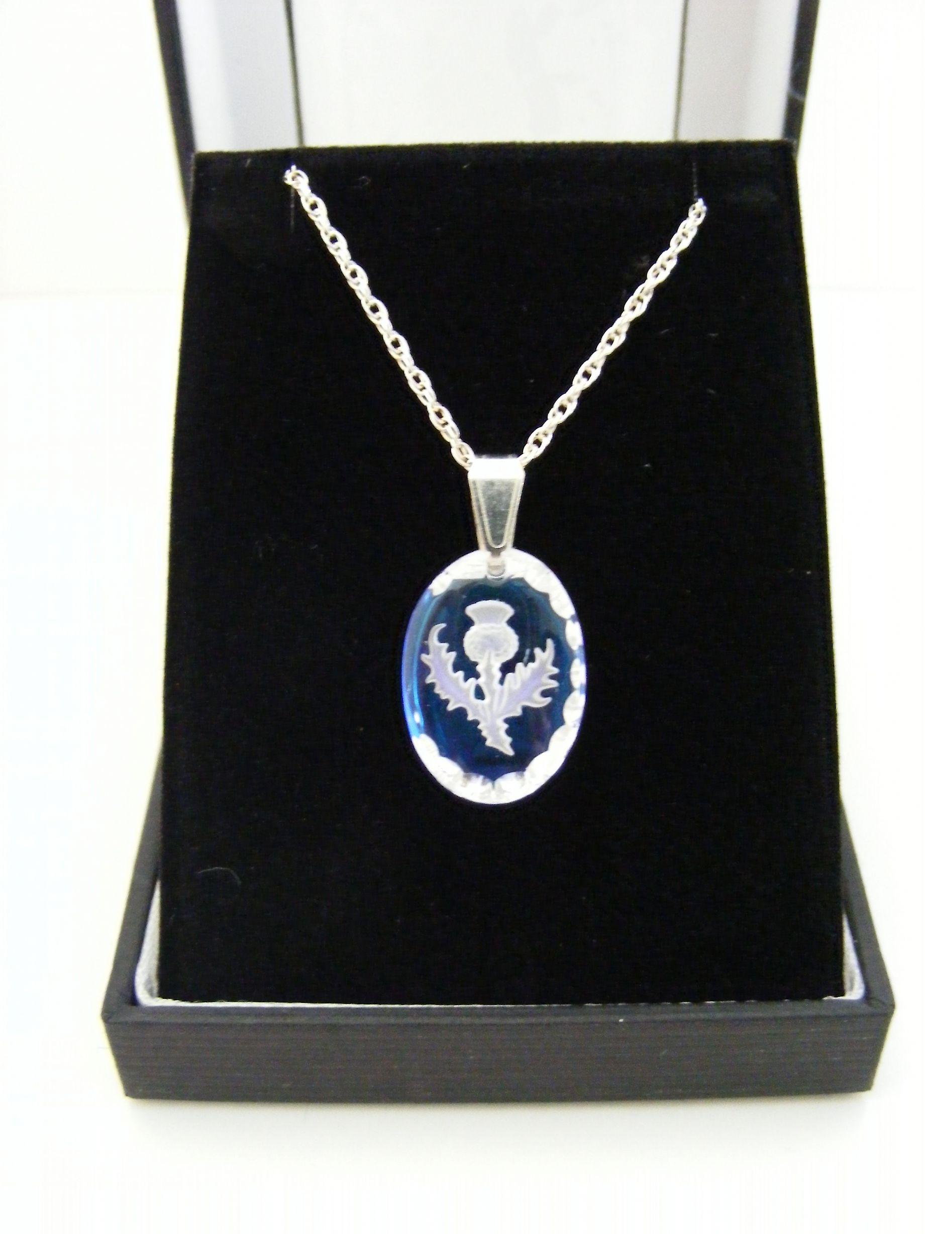 Ice Blue Thistle Oval Earrings and Small Pendant set