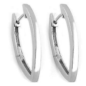 Creole, pointed oval rhodium plated Silver 925 of Creole of hoop earrings silver