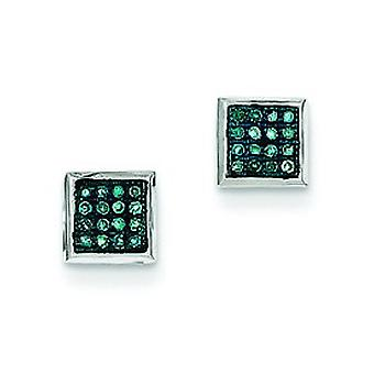 Sterling Silver Gift Boxed Cut-out sides Rhodium-plated Blue Diamond Post Earrings - .10 dwt