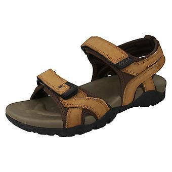 Mens Reflex Flat Hook & Loop Sandals A0052 - Tan Leather - UK Size 10 - EU Size 44 - US Size 11