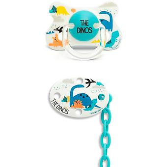 Suavinex Anatomical Fusion Pacifier and Blue Dino Oval Brooch 4 to 18 Months