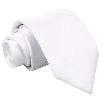 White Plain Satin Extra Long Tie