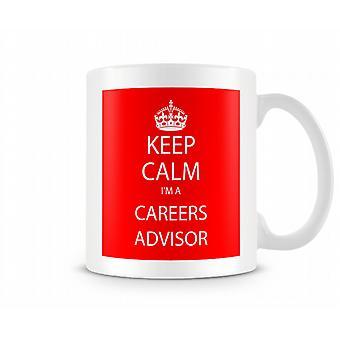 Houd kalm Im A carrière adviseur bedrukte mok bedrukte mok