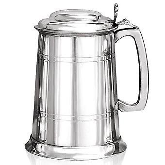 Straight Pewter Tankard with Lid - 1 Pint