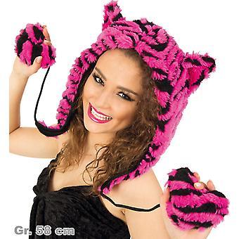 Plush Hat getiegert Hat pink plush