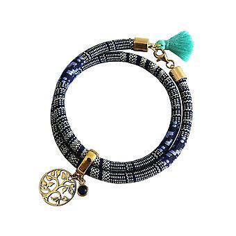 Gemshine - Damen - Armband - Wickelarmband - Vergoldet - Lebensbaum - AZTEC - Saphir - Blau