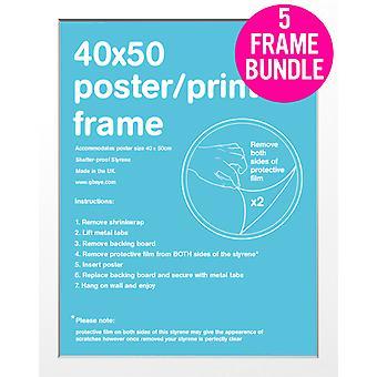 GB Posters 5 White Mini Poster Frames 40x50cm Bundle