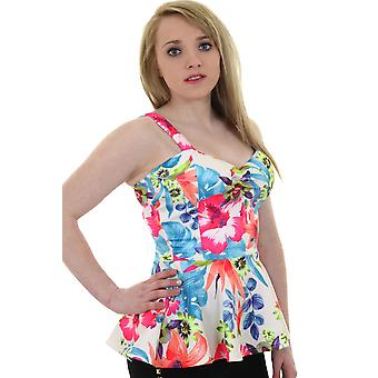 Ladies Strappy Crepe Textured Neon Floral Padded Cup Bra Flared Peplum Top