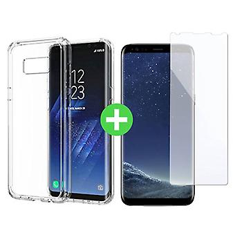 Stuff Certified ® Samsung Galaxy S8 Transparent TPU Case + Screen Protector Tempered Glass