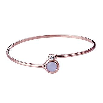 Orphelia 925 Silver Bangle Twist Rose Gold  Purple and white Zirconium  ZA-7406