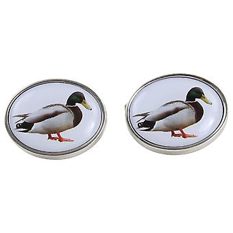 Zennor Mallard Duck Cufflinks - White/Silver/Green