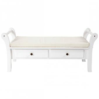 Classic style White bench With 2 drawers-Re4506-Rebecca's Furniture