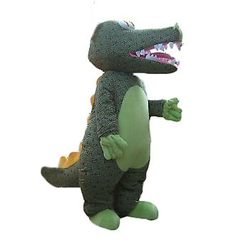 mascot SPOTSOUND of green crocodile with grey scales