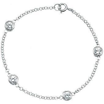 Beginnings Cubic Zirconia Rubover Bracelet - Silver/Clear