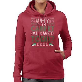 National Lampoons Why Is The Carpet Wet Christmas Knit Pattern Women's Hooded Sweatshirt