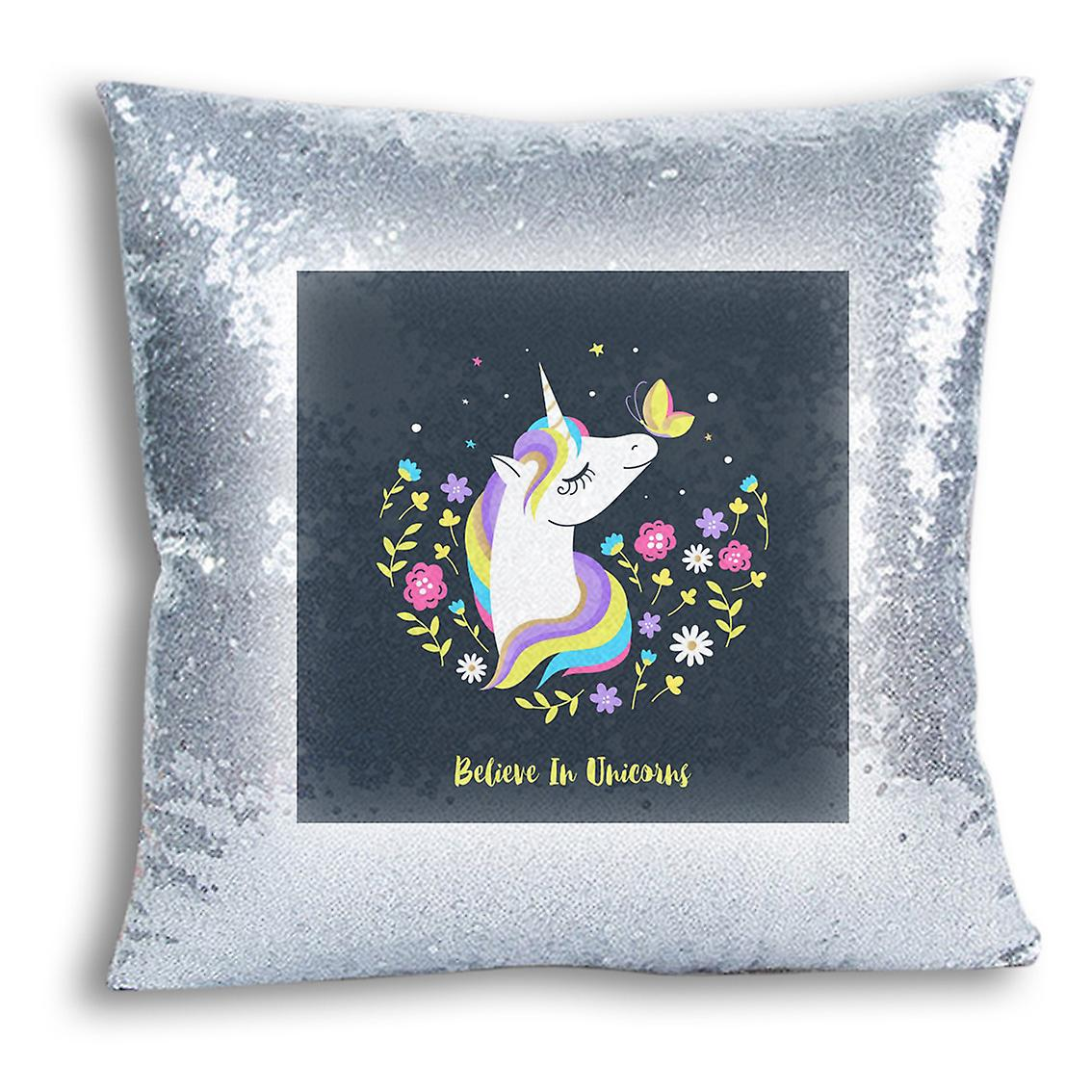 Inserted Decor Silver 14 Cover I Home With tronixsUnicorn Sequin CushionPillow Design For Printed 7yvYbgIf6m