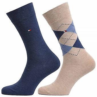 Tommy Hilfiger Check 2-Pack Cotton Logo Socks, Mid Summer, 43/46