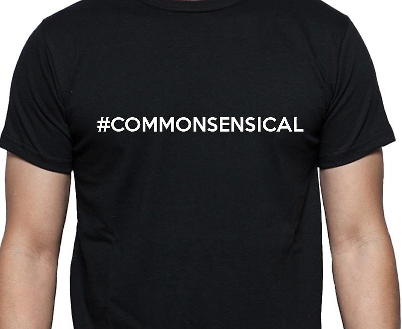 #Commonsensical Hashag Commonsensical Black Hand Printed T shirt