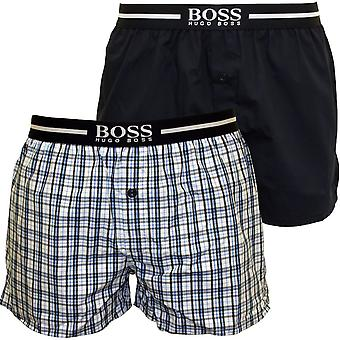 Boss 2-Pack Check & Solid Boxer Shorts, Blue/Navy