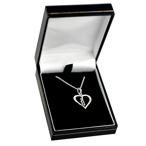 Silver 18x18mm initial B in a heart Pendant with a rolo Chain 14 inches Only Suitable for Children