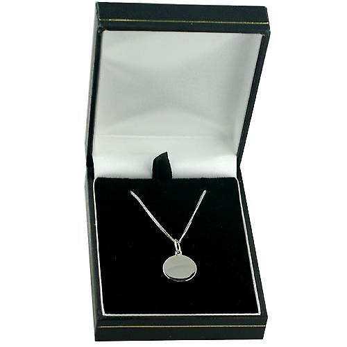 9ct White Gold 13mm round St Christopher with Curb chain