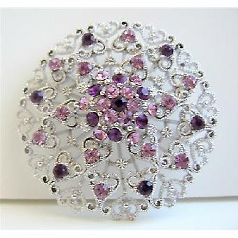 Sophisticated Amethyst Crystals Round Brooch For Formal Occasions