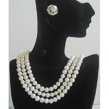 Potato Shaped Freshwater Pearls 3 Stranded Bridal Bridesmaid Jewelry