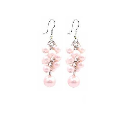 Dance Jewelry Pink Pearls Earrings Grape Bunch Pearls Earrings