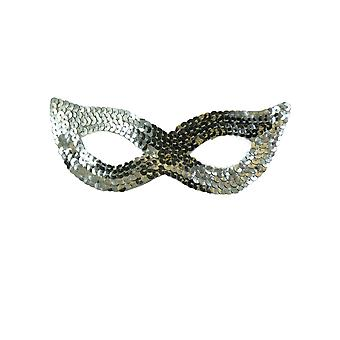 TRIXES Silver Sequin Venetian Masquerade Mask Fancy Dress Party Carnival Ball