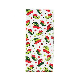 12 Christmas Elf Design Printed Cellophane Party Bags