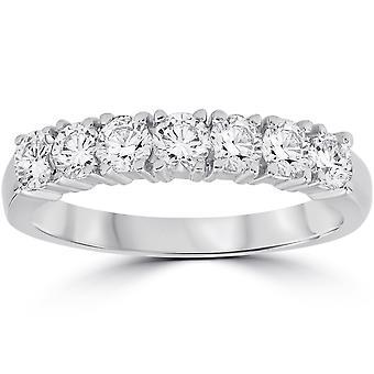 1ct diament Wedding Ring rocznica 14K białe złoto