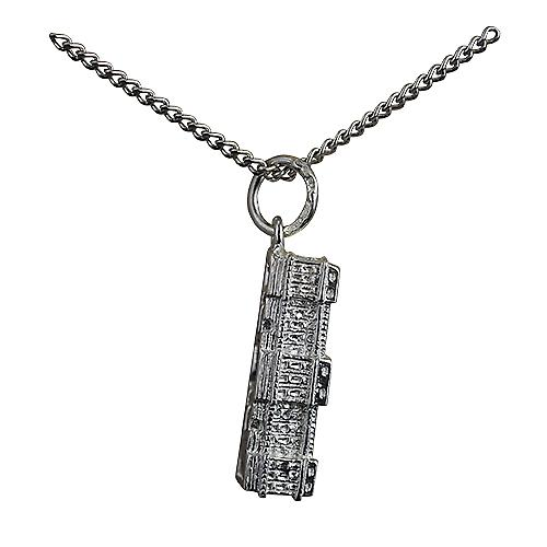 Silver 6x19mm hollow Buckingham Palace Pendant with a Curb Chain 18 inches