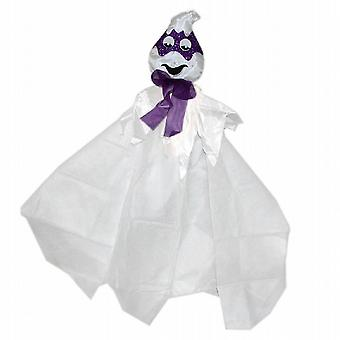 Halloween Horrors Hanging Glittery Masked Ghost With Fluffy Body Party Purple (WS309158PP)